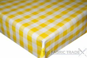 Image Is Loading Yellow Gingham Checked PVC Tablecloth Vinyl  Oilcloth Kitchen