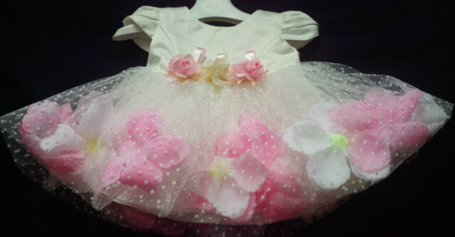 Ivory Christening Pageant Flower Girl Wedding Bridesmaid Easter Party Dress 0-24