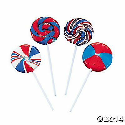 PATRIOTIC SWIRL LOLLIPOP SUCKERS RED WHITE BLUE USA FIREWORKS PARTY (LOT OF 12)
