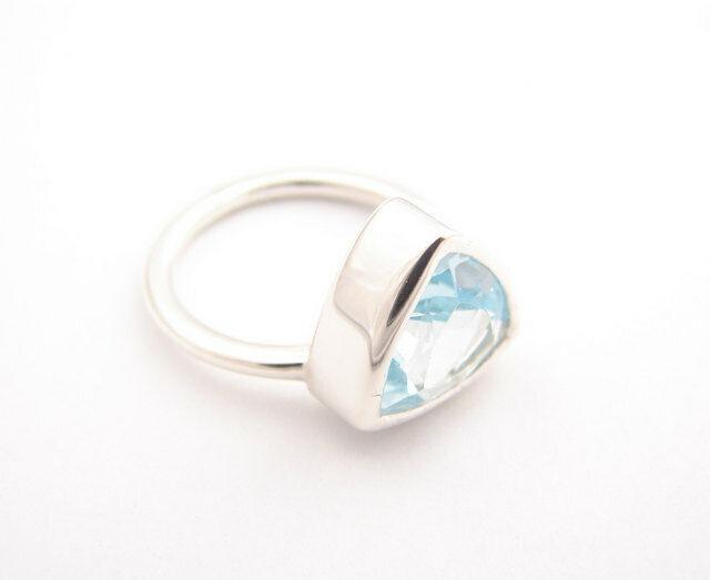 14k solid gold ring natural bluee topaz triillion ring mens ring white DJR0414