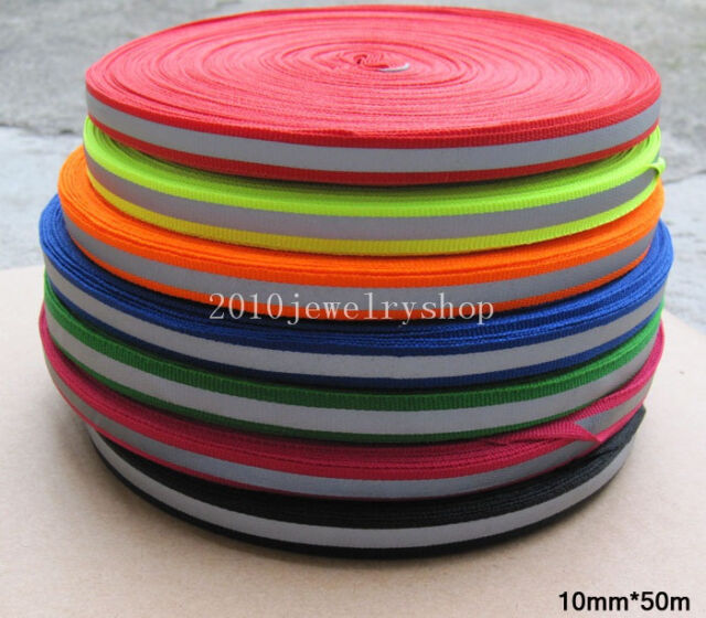 Reflective Fabric Tape Webbing Strap Sew On 10mmx50m (7 colors Choice)