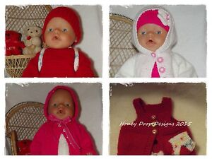 Honeydropdesigns-4-PAPER-KNITTING-PATTERNS-For-Baby-Born-17-Inch-Dolls