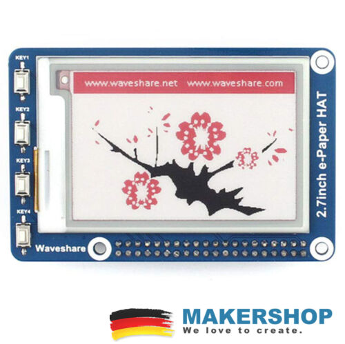 Waveshare 264x176 2.7 inch E-ink display has Raspberry Pi 3 Colour 13357