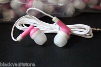 Pack Of 25 - Pink/white - 3.5mm In-ear Earbuds / Earphones - U.s. Shipper