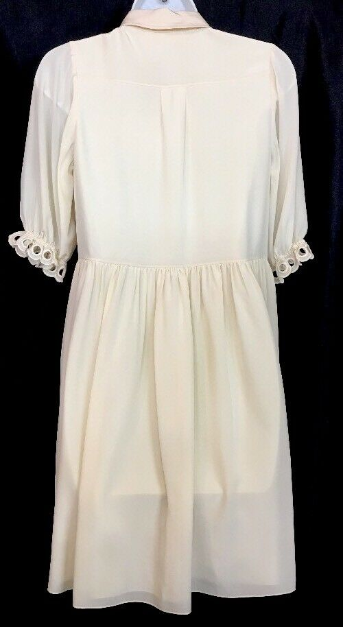 Chloe Dress Seedpearl Beige Silk Short Embroidered Sleeve And And And Front Size 36 bdabea