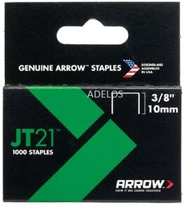 JT21-T27-Grapas-10mm-3-8in-1000-Caja-de-luz-deber-Genuino-Flecha-Grapa