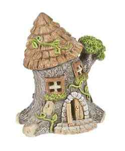 Fairy garden miniature light up tree trunk house 6 5 for How to make illuminated tree stumps