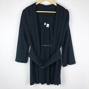 Anthropologie-Moth-Pleated-Kimono-Belted-Sweater-3-4-Sleeve-Black-Small-Wool