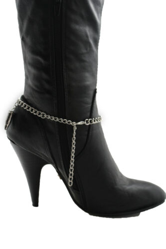 Fun Women Western Boot Bracelet Silver Metal Chain Gun Bullets Anklet Shoe Charm