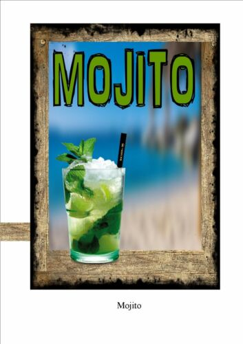 Mojito Cocktail Novelty Metal Door Wall Sign Kitchen Sign Pub Sign Cocktail Bar