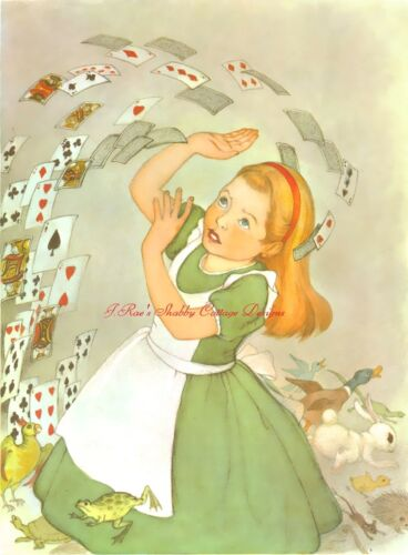Alice In Wonderland Green Dress Flying Cards Fabric Block 5x7 or 8x10 Cotton