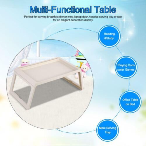 Bett Tablett Klappbar Serviertablett Tisch Frühstückstablett Laptoptisch Beige
