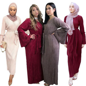 Muslim-Women-Pleated-Dress-Robe-Jilbab-Abaya-Cocktail-Maxi-Kaftan-Gown-Islamic