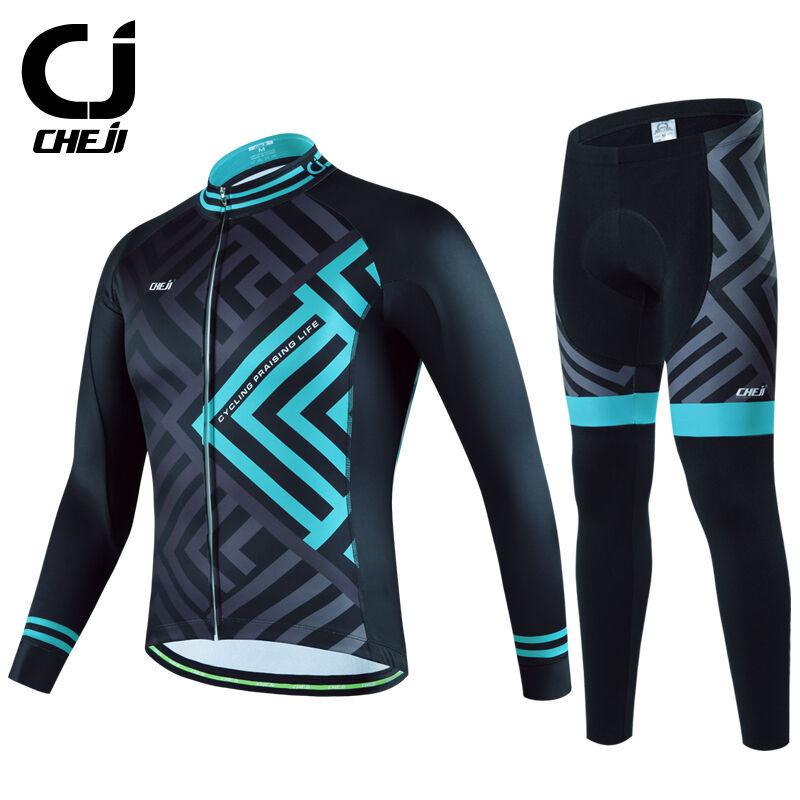 CHEJI blu Maze Fleece Men's Cycling Kit Long Thermal Cycle Jersey & Pants Set