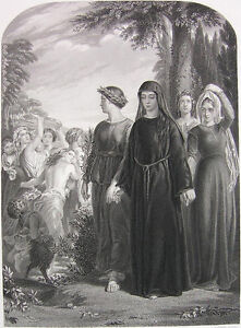 GOOD GIRL NUN & PRETTY NAKED NUDE PARTY GIRLS BREASTS ~ 1858 Art Print Engraving