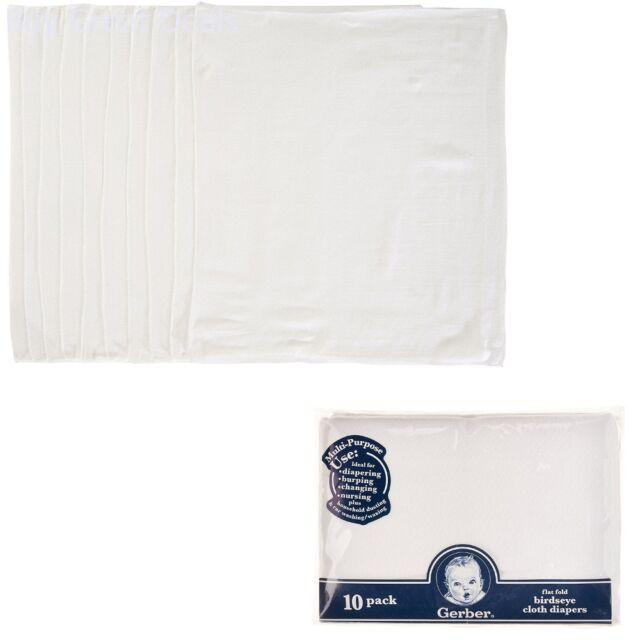 Gerber 10 Count Prefold Gauze Cloth Diapers White