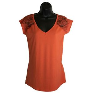 Womens-Bobbie-Brooks-Orange-Lace-Short-Sleeve-Shirt-Top-Size-S-Small