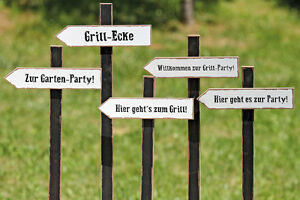 Gartenstecker Wegweiser Party Holz 292790 Schild Grill Garten Fest