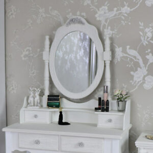 Large ornate white rose freestanding table top vanity mirror shabby ...