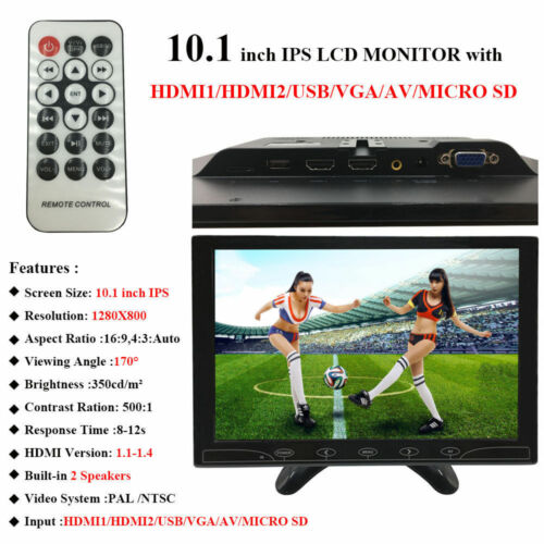 "11.6/""//10.1/"" IPS CCTV PC Monitor Screen USB AV RCA VGA HDMI 1080p for Raspberry P"