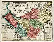 MAP 17TH CENTURY HOLLAR CHESHIRE HUNDREDS ENGLAND REPLICA POSTER PRINT PAM0247