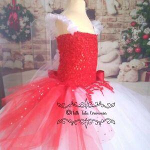 Details Sur Robe Tutu Princesse De Noel Blanche Rouge 4 5 Ans Fetes Mariage Ceremonie