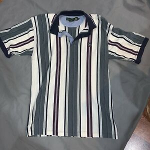 Vintage-Knights-of-Round-Table-Polo-Shirt-Striped-Men-039-s-Medium