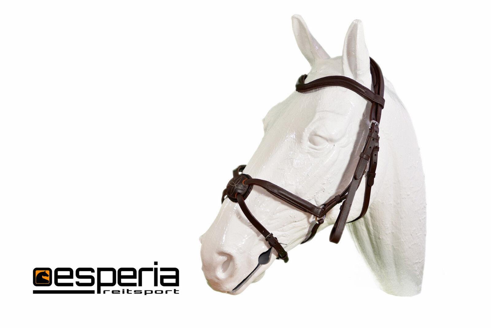 Esperia Mexikanischer Zaum Trense braun / weiß COB/Full/Pony Leder; K25 F112