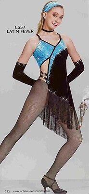 Latin Dance Costume Jazz Tap Artstone Blue and Black Latin Fever 557