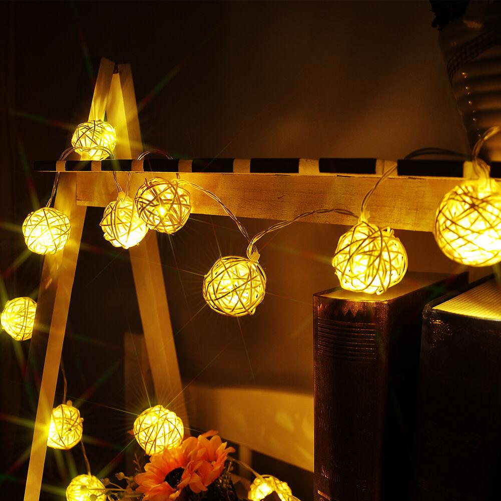 20 LED Bulbs Battery Warm White Rattan Ball String Fairy Lights Party Home Decor