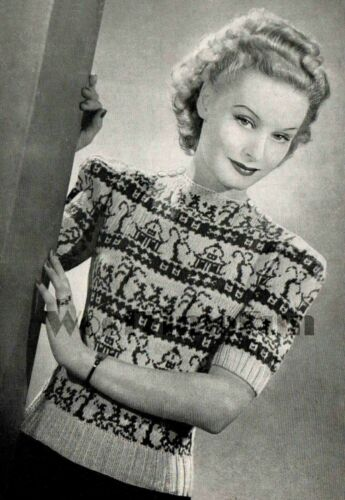 "Willow Tree Pattern Knitting Patterns Vintage 1930s//40s Fair Isle Jumper 34/"""