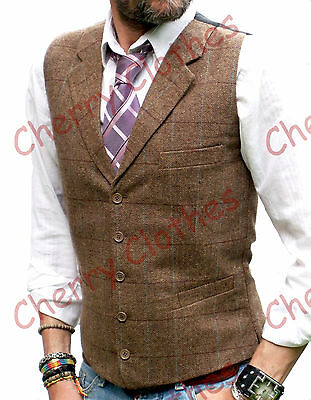 MENS WOOL BLEND TWEED BROWN HERRINGBONE CHECK LAPEL WAISTCOAT VEST ALL SIZES