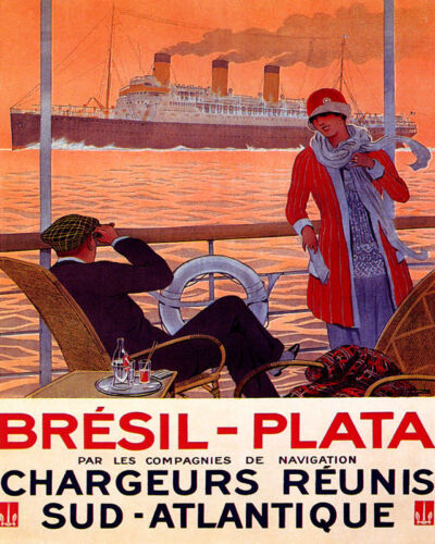 POSTER BRAZIL PLATA ARGENTINA TRAVEL BY STEAM BOAT SHIP VINTAGE REPRO FREE S//H