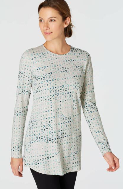 NEW PURE J. JILL 2X 4X L/S Stretch-Cotton Shirttail Tee Shirt Gray Blue