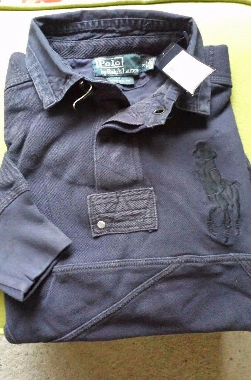 NWT POLO RALPH LAUREN  LONG SLEEVE  RUGBY CUST FIT navy  BIG PONY POLO    S