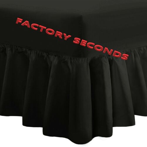 """B2 Factory Seconds Valance Fitted Sheet KING 60/""""x78/"""" Frill 15/"""" Approx BLACK"""