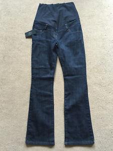BNWT-NEXT-Dark-Blue-Bootcut-Over-Bump-MATERNITY-Jeans-Size-8-Reg-Leg-31-034