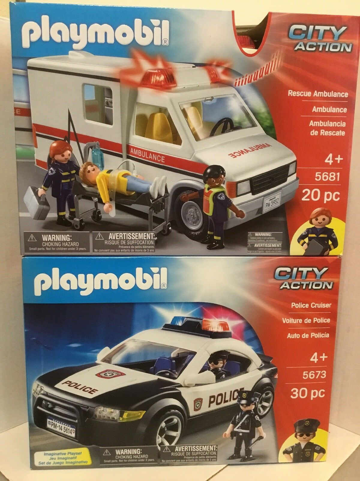 Playmobil City Action Playset Bundle - Rescue Rescue Rescue Ambulance and Police Cruiser NEW 3bb4b3