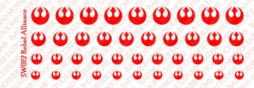 Star Wars Rebel Alliance Red 1//18 Scale Custom Tattoos Waterslide Decals