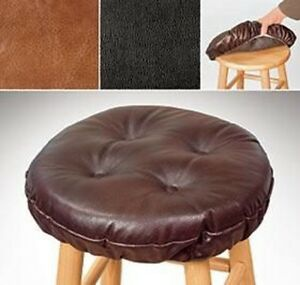 Faux Leather Stool Cover Thick Foam Padded Cushion Dark