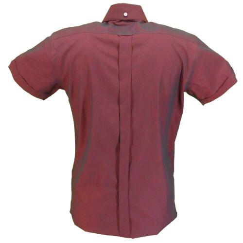Relco Mens Short Sleeved Burgundy//Black Tonic Mod Retro Shirt