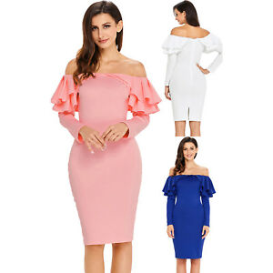 0664bca430 Ruffle off the shoulder long sleeve bodycon dress party ceremony ...