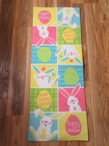 EASTER TABLE RUNNER~Applique~13x36~Bunny~Eggs~Pink~Yellow~Blue~NEW.