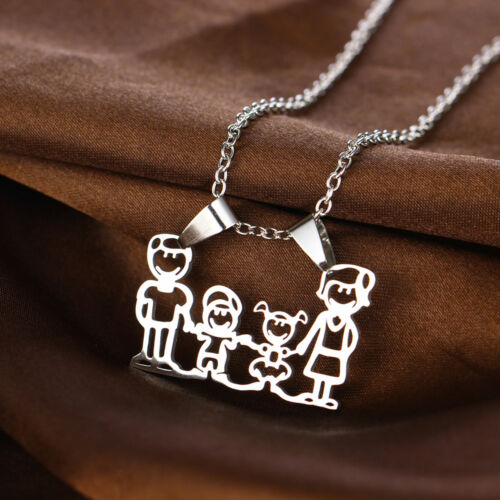 Parents Kid Love Heart Pendant Necklace Keyring Keychain Love Mom Dad Grandma