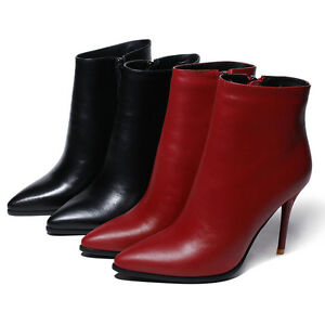 Women-039-s-Genuine-Leather-Pointed-Shoes-High-Heels-Zip-Up-Ankle-Boots-AU-Size-b143