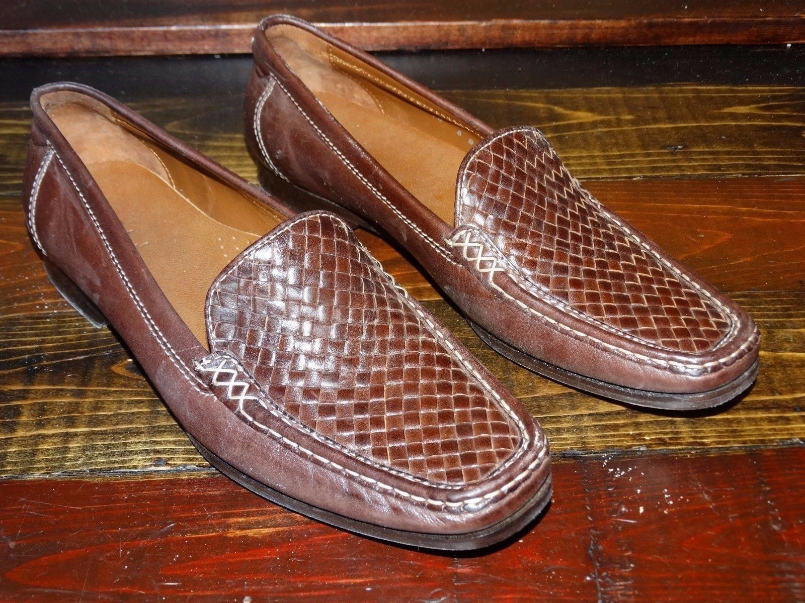 18839  Womens  Cole Haan Brown Leather Flats shoes  Basketweave  Size 8 B