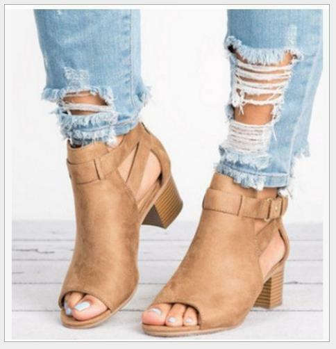 Womens Block Chunky Heel Ankle Strap Buckle Sandals Open Toe Retro Roman Shoes
