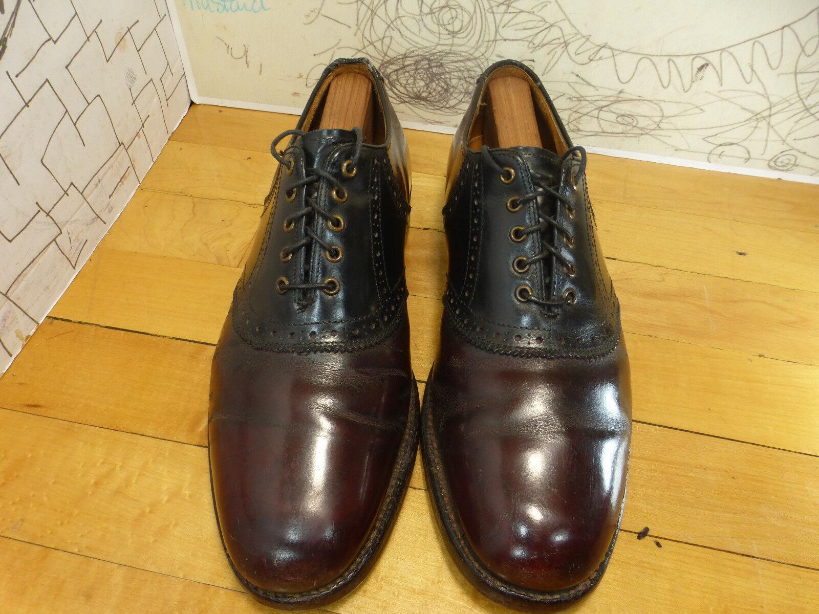 Truly Vintage Burgundy & Black Leather Saddle Oxfords Men's 7.5D B