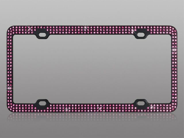 Black license plate frame with 3 rows of pink crystals bling diamonds iced out
