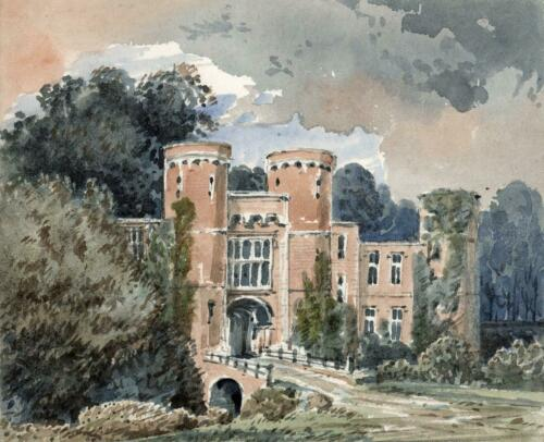 ENTRANCE TO BATTLE ABBEY Small Victorian Watercolour Painting 19TH CENTURY